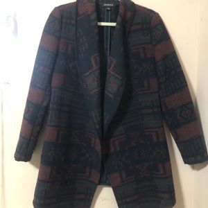 Open Sweater-Jacket Aztec Print